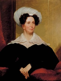 portrait of mrs. david stoddard greenough iii of roxbury, massachusetts (+ portrait of mr. david stoffard greenough iii; 2 works) by chester harding