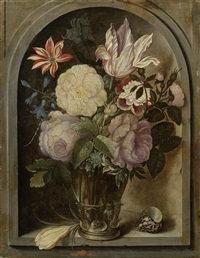 roses, a tulip, hyacinths and other flowers in a glass roemer beside a crocus flower and shell in a stone niche by ambrosius bosschaert the elder