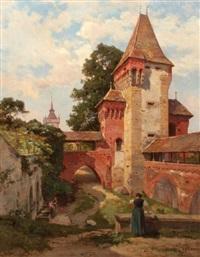 femmes au lavoir devant une fortification by emile isembart