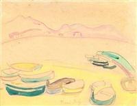 barques sur la plage, l'estaque (?) by raoul dufy
