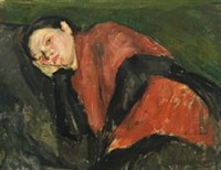 recumbent woman dressed in red and black by carl fischer