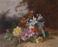 blumenstück mit rosen, galdiolen und lilien by david emile joseph de noter