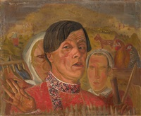 self-portrait with hen and rooster by boris dmitrievich grigoriev