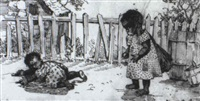 two black children by a fence by marietta minnegerod andrews