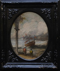 tall sailing ship in rough waters by louis de moni
