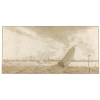 boats on stormy water, amsterdam beyond by pieter coopse