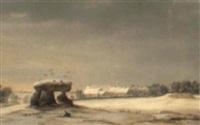 the dolmen in winter by frederik michael ernst fabritius de tengnagel
