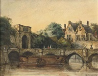 a walk on a bridge in ghent by jan weissenbruch
