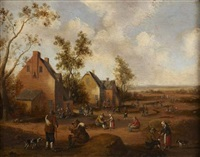 figures and animals on the outskirts of a village by cornelis droochsloot