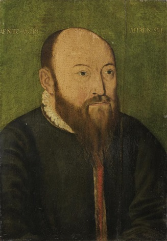 portrait d'homme sur fond vert by bartholomäus (barthel) bruyn the younger