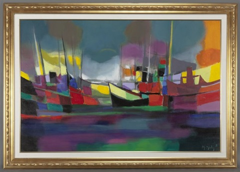 chalutiers au large by marcel mouly