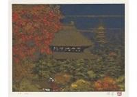 four seasons at temple (portfolio of 4) by sumio goto