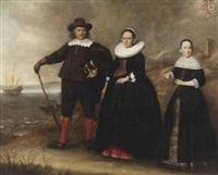 a group portrait of the family of otto van vollenhoven and apollonia bogaert standing on the beach with the armed merchantman de geweldige in the background by dirck dircksz van santvoort