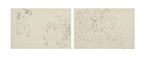 le paiement and lenfant prodigue from le jeune homme 2 works by jules pascin