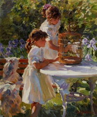 two girls looking at a birdcage by yuri krotov