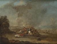 combats de cavaliers (pair) by charles parrocel