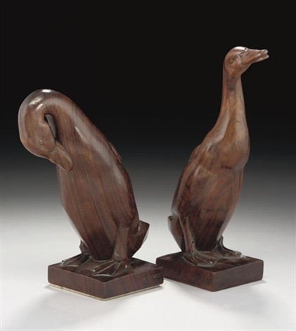 two carved hardwood ducks by emile just bachelet