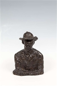 bust of a man in a hat by jerome connor