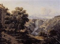 paysage à la cascade en italie by édouard audiffred
