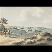 view of oxford with figures on horseback to the fore by peter la cave