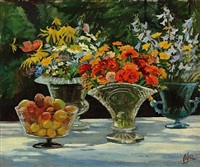 flowers and fruit on a garden table by olga (grand duchess) alexandrovna