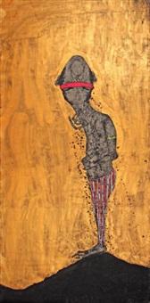 homme au bandeau rose sur fond doré by sabhan adam