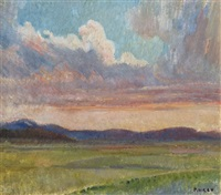 untitled - landscape at sunset by arthur murch