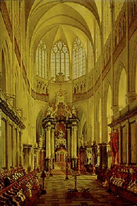 the interior of the sint baafs-cathedral, ghent by angelus de baets