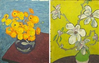 marigolds (+ vase with magnolia, verso) by vasile varga