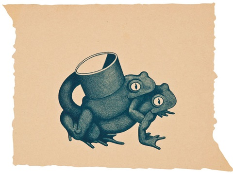 double frog cup and four other works set of 5 by ken price