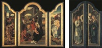l'adoration des mages (triptych, with l'annonciation on the outer wings) by jan van dornicke