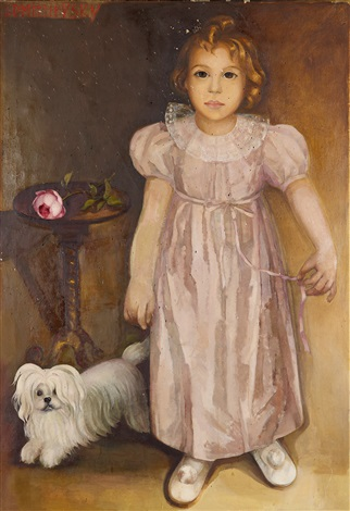 portrait of the artists daughter maria and her dog djingis by lydia dmitrievsky