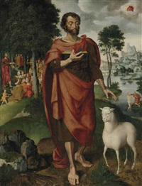saint john the baptist with the baptism and predication by dutch school-southern (16)