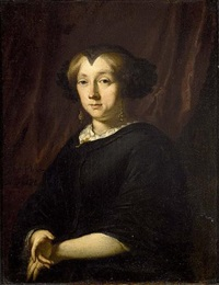 portrait of a lady, seated half lenght wearing widow's weeds by pieter van anraedt