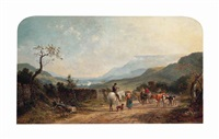 travellers on a beaten track, an extensive landscape beyond by edmund john niemann
