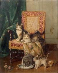 quatre chats et un fauteuil by jules leroy