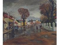 paarl street scene by piet (pieter gerhardus) van heerden