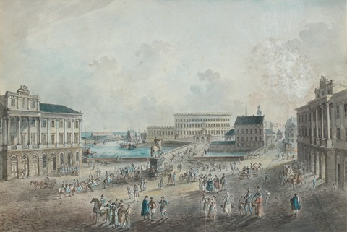 vue du palais royal de stockholm depuis la place norr malms torg by johan fredrik martin