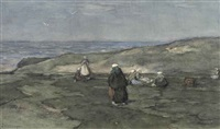 mending the nets in the dunes by johannes evert hendrik akkeringa