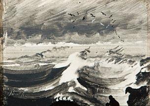 skip på opprørt hav by peder balke