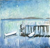 robåter ved brygge, måneskinn by arne kavli