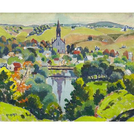 quebec village autumn by randolph stanley hewton