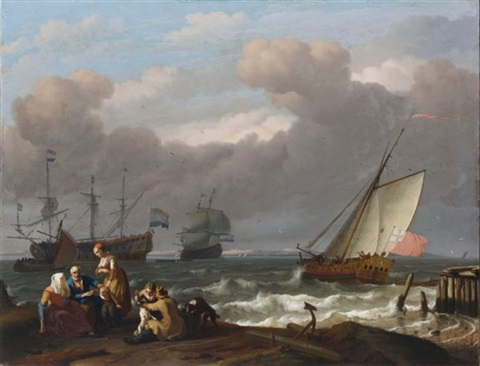 an english royal yacht leaving harbour in choppy seas with two dutch men owar beyond and a fishermans family with two dogs on the shore in the foreground by ludolf backhuysen the elder