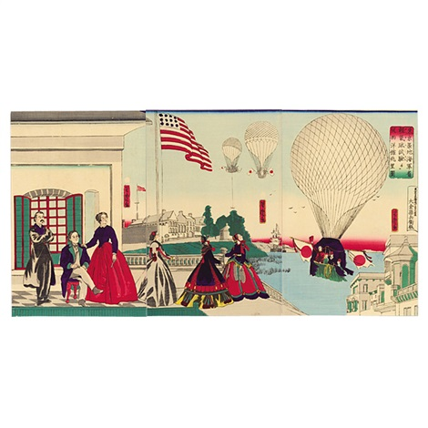 tokyo tsukiji kaigun sho kei kikyu shiken ju seiyokan chobo zu the trial balloon launch at the naval academy training ground at tsukiji triptych various sizes oban tate e by utagawa yoshitora
