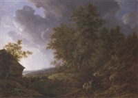 an extensive rolling landscape with travellers on a sandy track by a watermill by adrianus van der koogh
