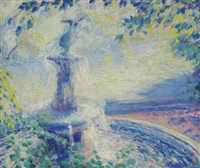 fountain, central park by theodore earl butler