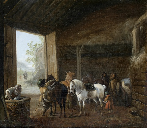 a stable interior with two horses being saddled and other horses standing in their stalls by pieter wouwerman
