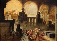 l'incendie de troie avec la fuite d'enée et de sa famille by daniel van heil