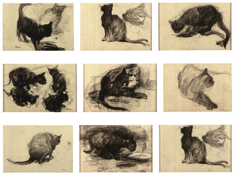 les chats set of 8 by ernest van hoorde