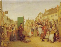 market scene with a performance of punch by edward thompson davis